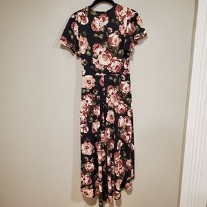 by & by Dresses - By & By faux wrap black rose floral hi low dress M